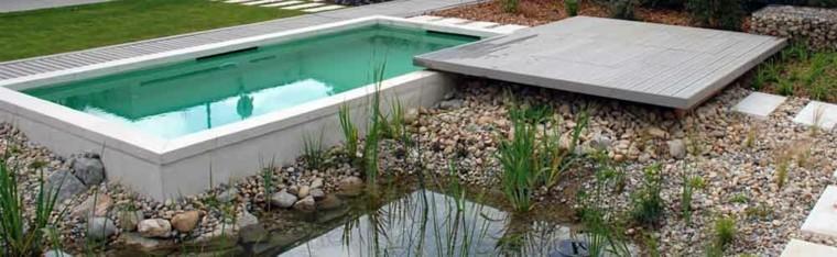 bio piscina plataforma madera piedras