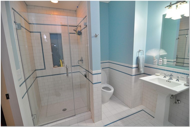 blanco azul azulejos baño ideas modernas simples