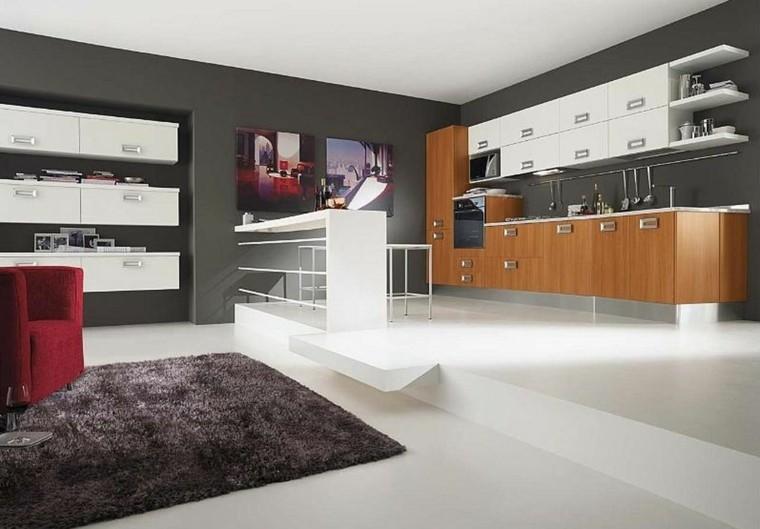 blanco muebles cocina moderna alfombra
