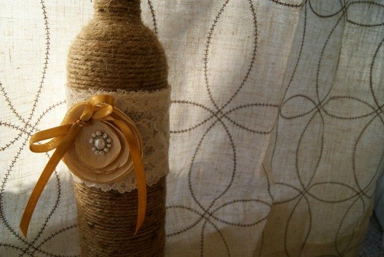 bonita botella adorno cuerda naranja