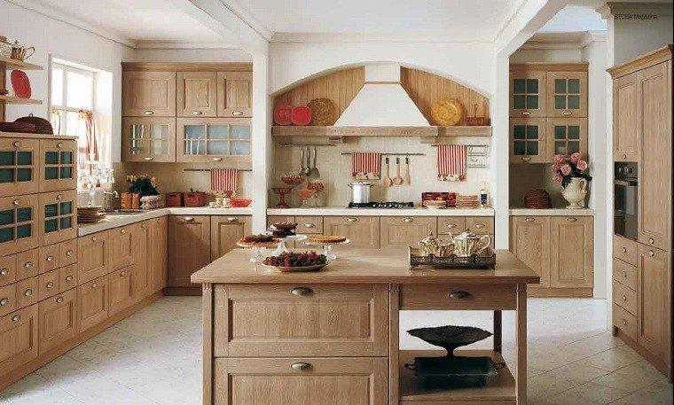 bonita cocina isla madera laminada