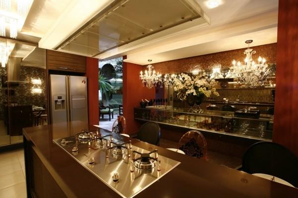 diseños de cocinas  lujosa lámparas madera