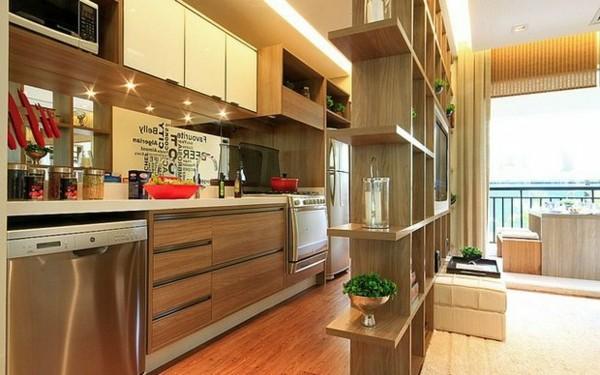 bonita cocina madera estrecha laminados