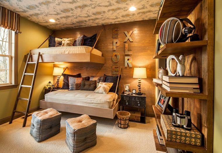 Decoracion r stica para los dormitorios juveniles con encanto - Habitaciones originales para ninos ...