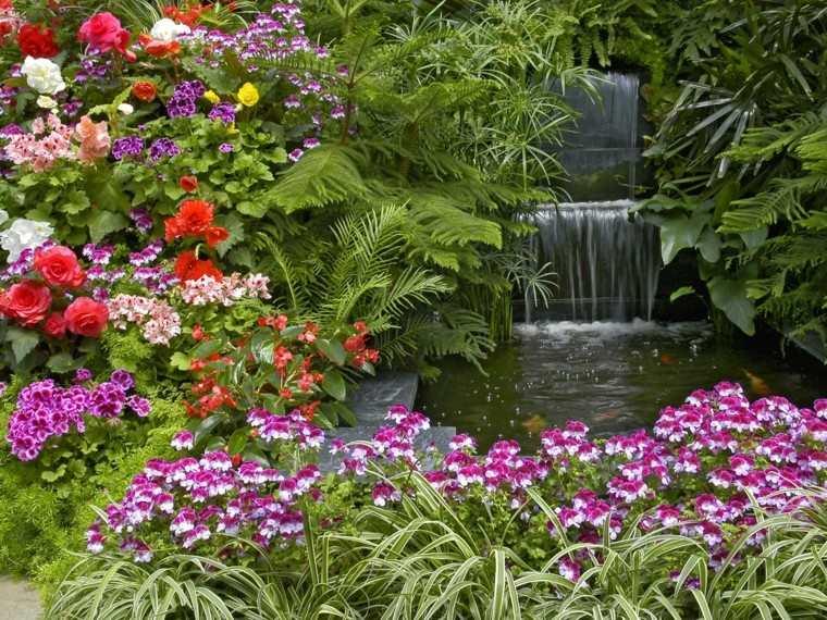 bonitas flores estanque cascada agua