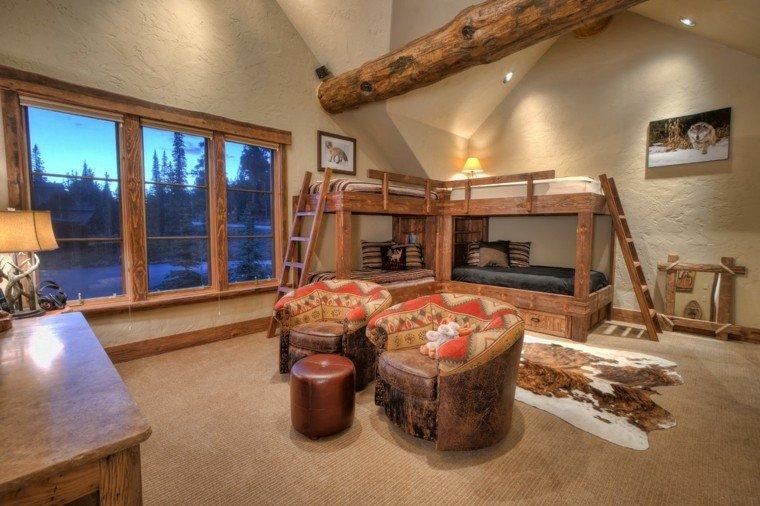 Decoracion rustica para los dormitorios juveniles - Habitacion con literas para ninos ...