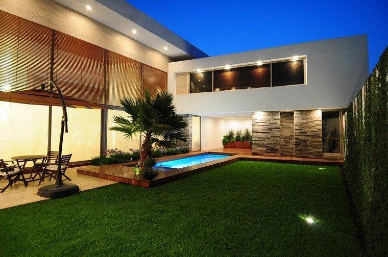 jardin palmera plataforma madera piscina