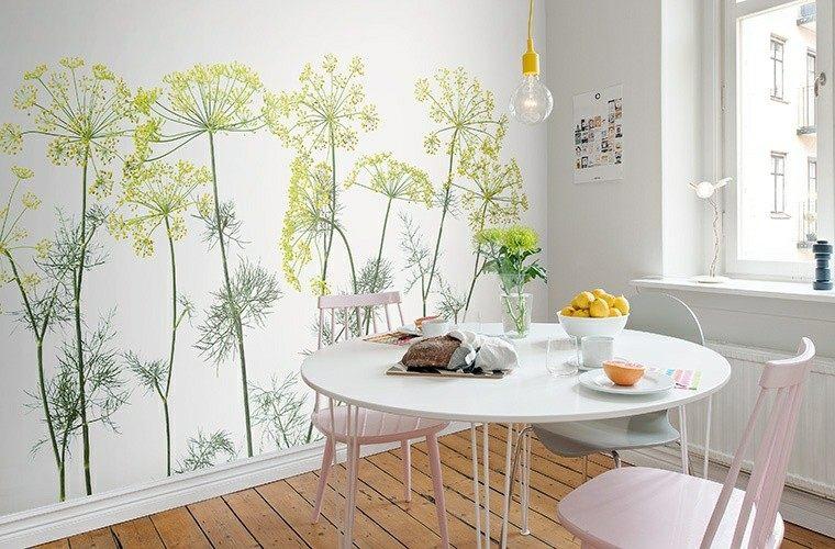 bonito papel pared cocina flores