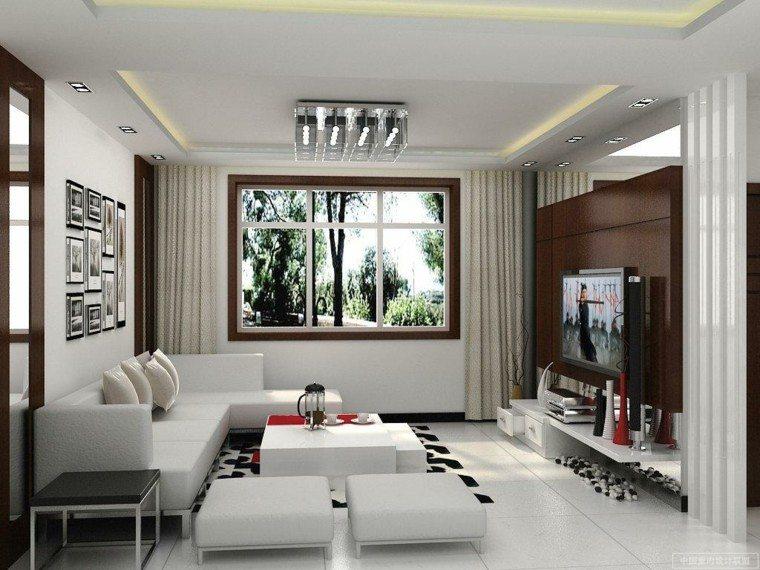 bonito salón blanco estilo moderno