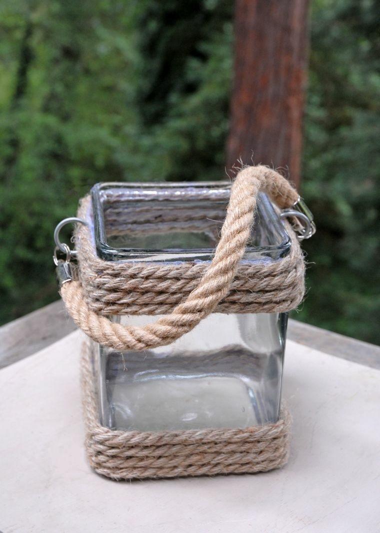 bote cristal cuadrado cuerdas asa