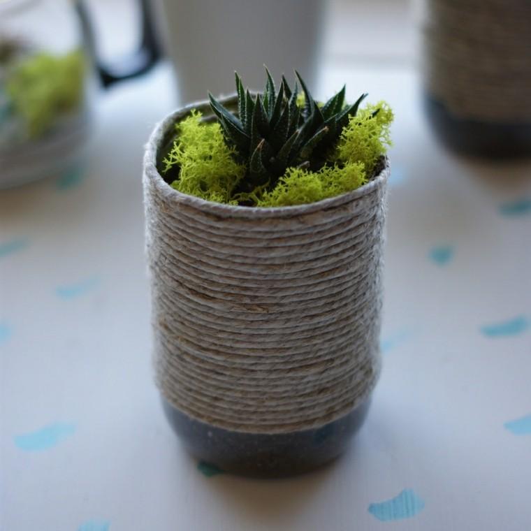 Cuerdas de c amo para decorar cuencos y jarrones - Como decorar macetas de barro ...