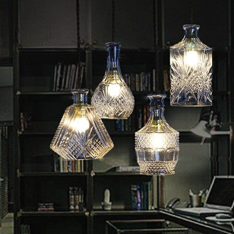 botellas-cristal-viejas-lamparas