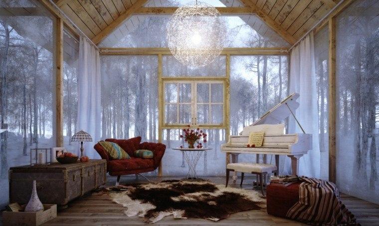 cabaña madera sala estar retro