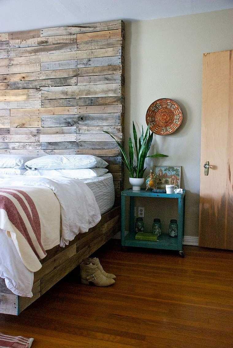 cabecero palets ideas estilo vintage cama moderna