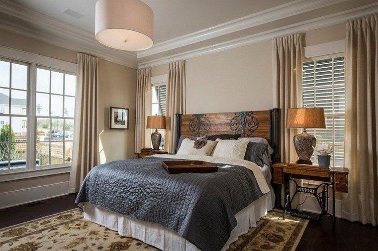 cabeceros de cama madera rustico dormitorio ideas