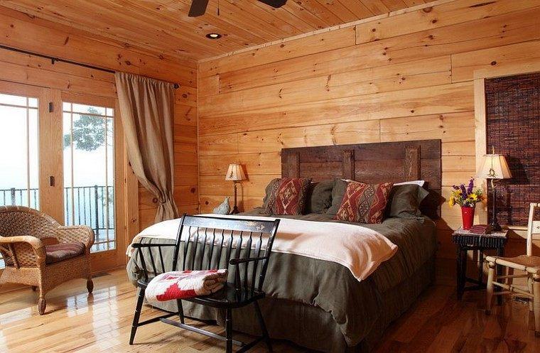 cabeceros de madera dormitorio estilo moderno rustico