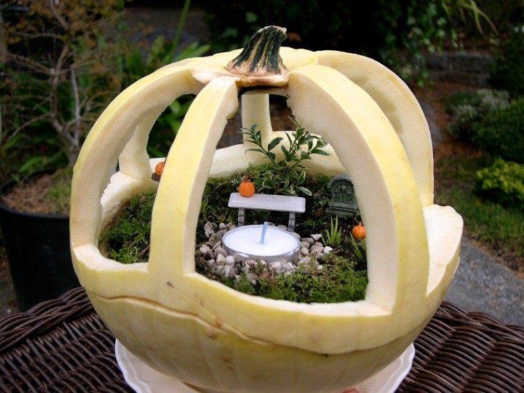 calabaza recortada forma mini jardin