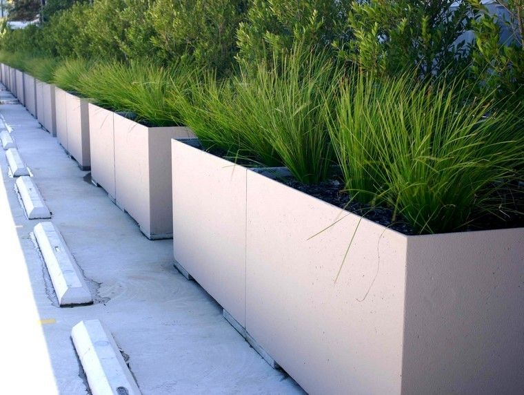 Jardineras inmensamente elegantes y funcionales - Maceteros rectangulares grandes ...