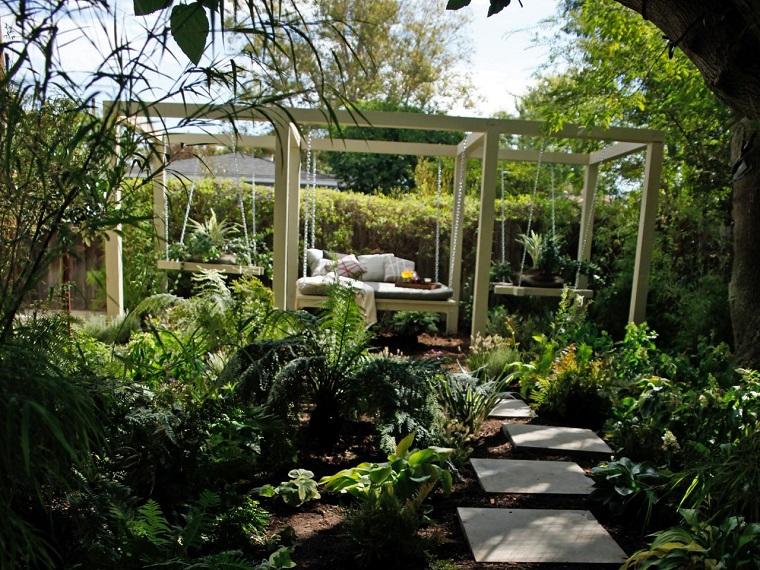 cama colgante jardin plantas colgadas lados ideas modernas