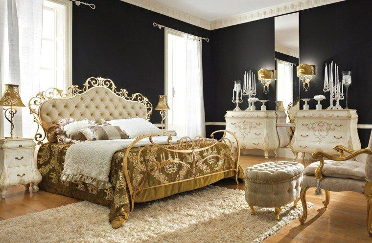 cama dorada lujosa pared negra