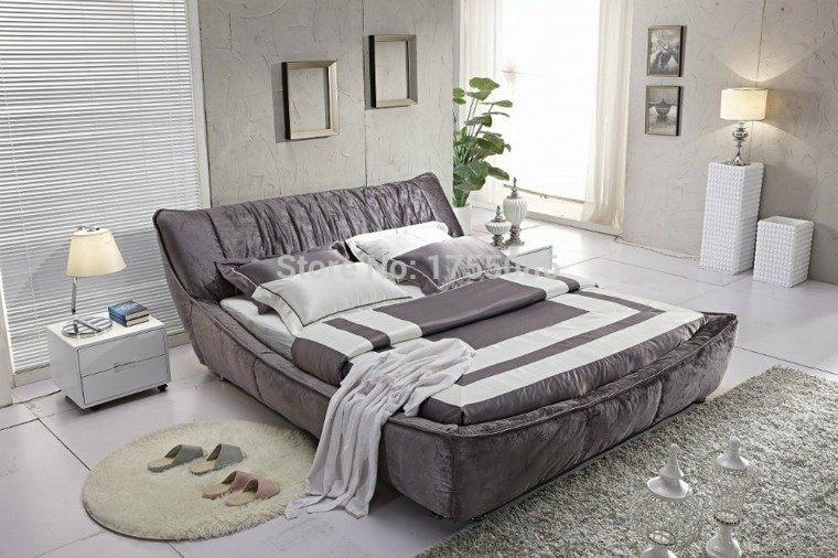cama gris terciopelo solteros