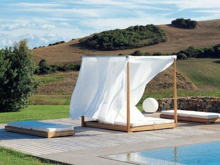 cama minimalista dosel madera blanca