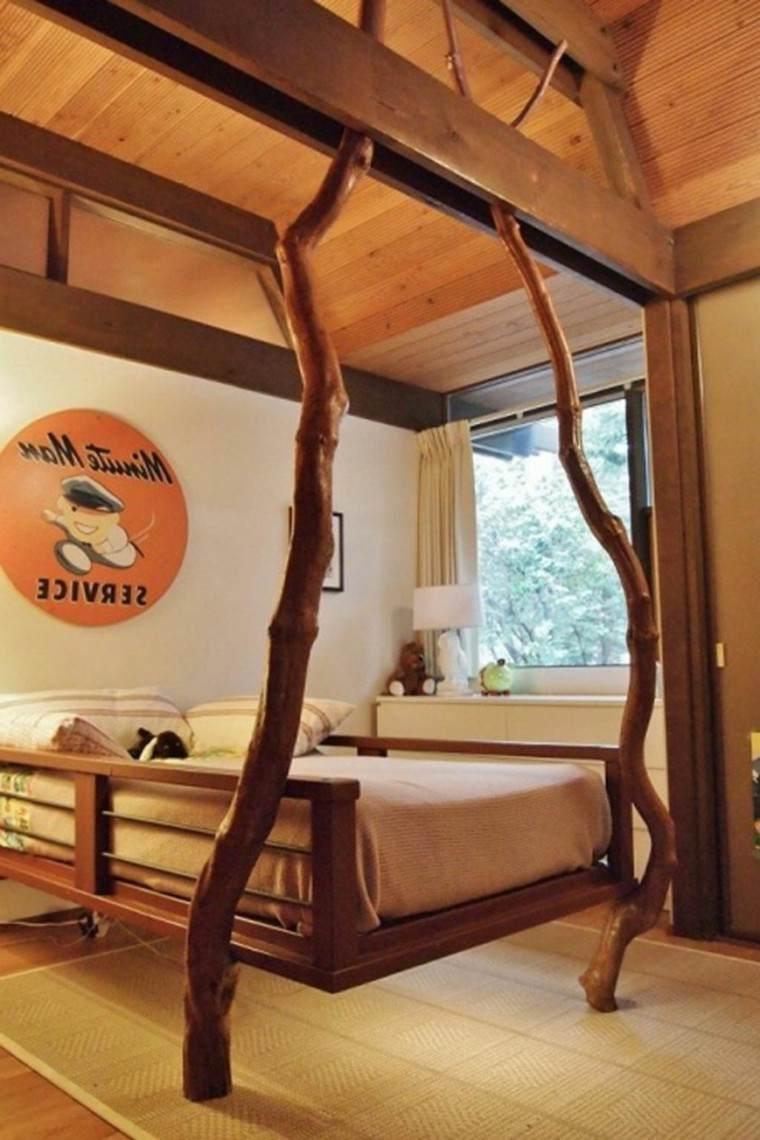 cama diseño original ramas madera