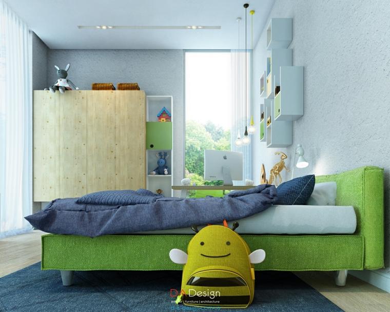 cama verde diseño infantil abeja