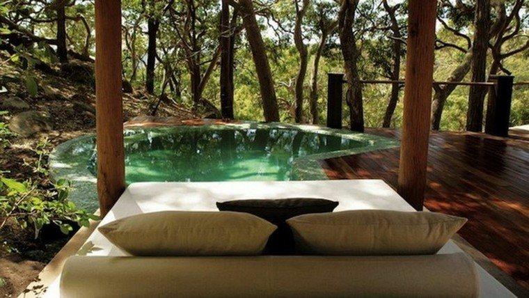 camas de jardín madera piscina