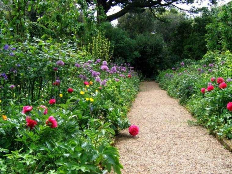 camino piedras flores dos lados bonitas ideas