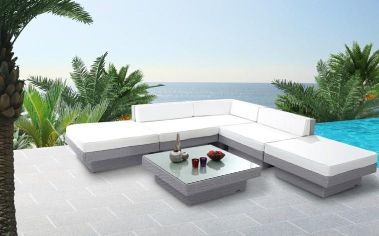 canapes sofas mimbre gris blanco