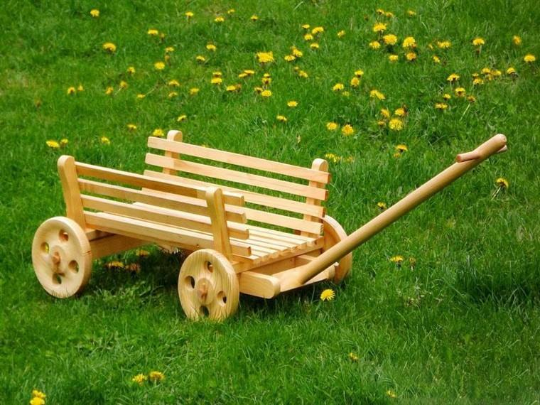carrito madera link decoracion de jardin