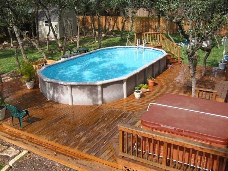 casa madera piscina cesped juegos terraza