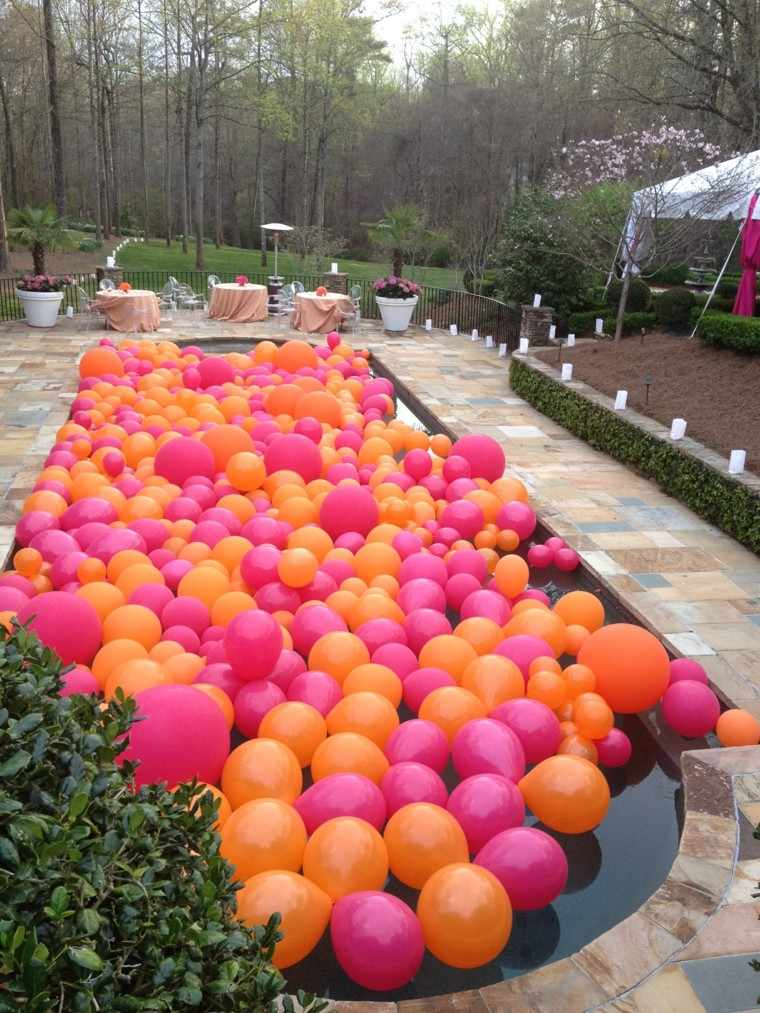 casas decoradas globos piscina ideas jardin