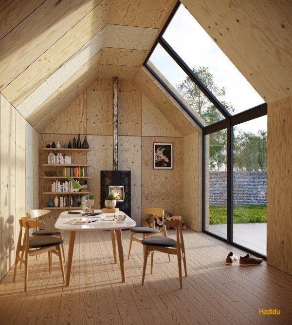 caseta cabaña madera tejado mesa