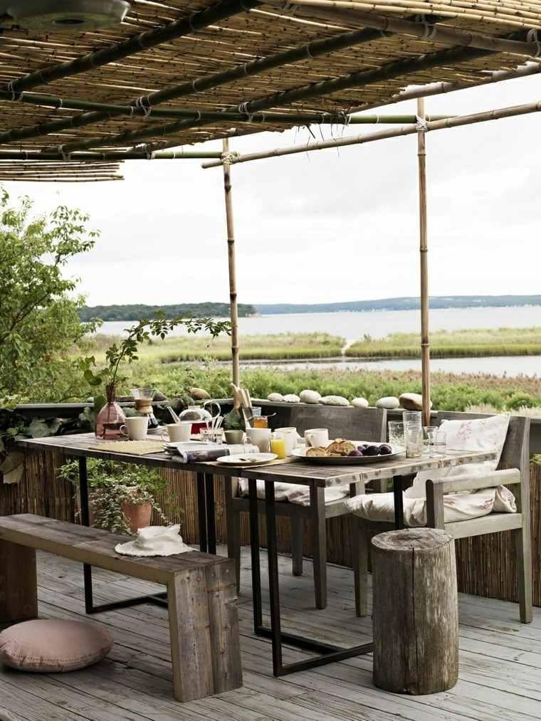 cena estilo rustico vistas muebles madera pergola bambu