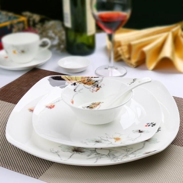 cenas oxidentales platos modernos blanco estampas ideas