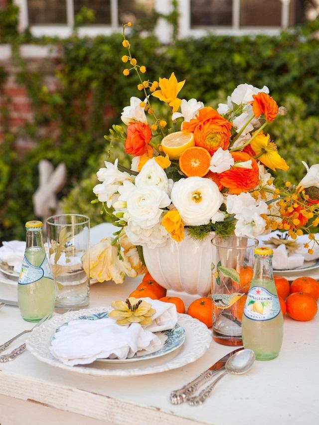 centro mesa original bonito naranja fresco blanco grande