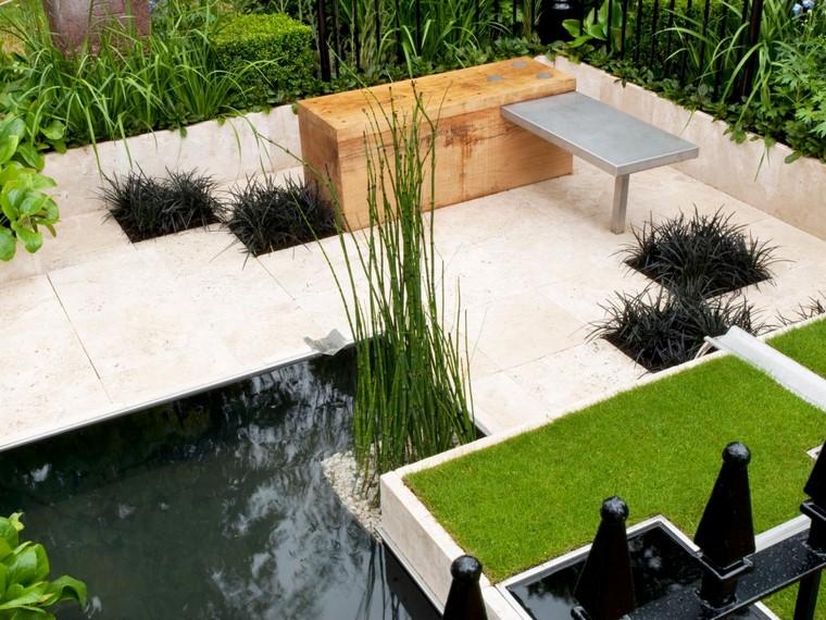 cesped agua mesa jardin banca