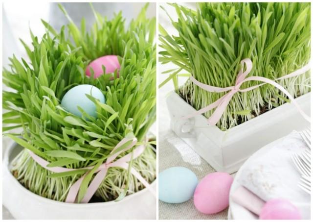 cesped plato blanco idea huevos original pascua primavera