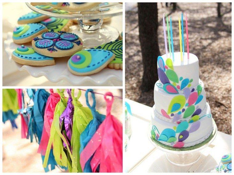 pastel y decoraciones para fiesta de cumpleaños al aire libre