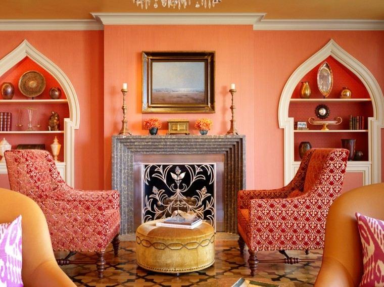 chimenea azulejos estilo marroqui narranja ideas