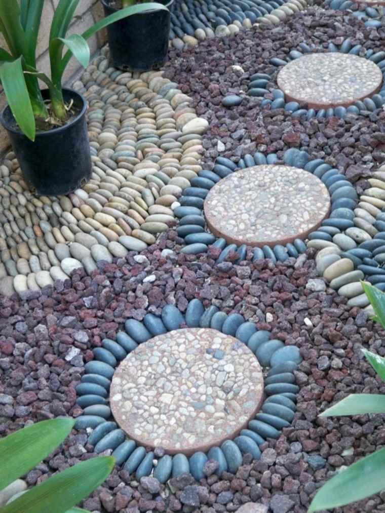 circulos creativo maceta piedras plantas colores