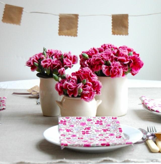 claveles rosa servilleta original estampa floral