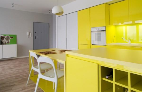 cocina amarillo vivo brillante