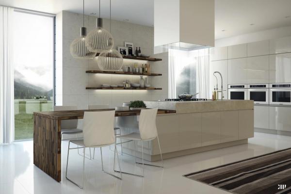 Mesas de cocina o comedor de dise241o moderno tendencias : cocina beige isla mesa from casaydiseno.com size 600 x 400 png 244kB