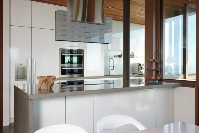 cocina blanca frigorifico isla moderna grande ideas