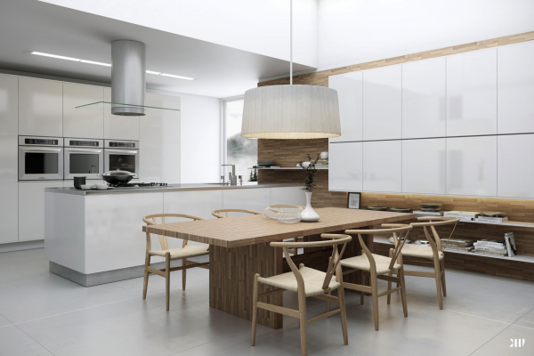 cocina blanca mesa laminado madera