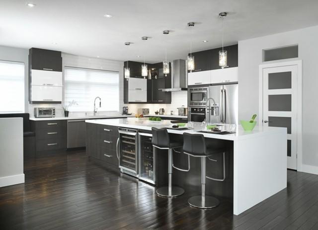 cocina blanco negro tendencia moderna luminosa