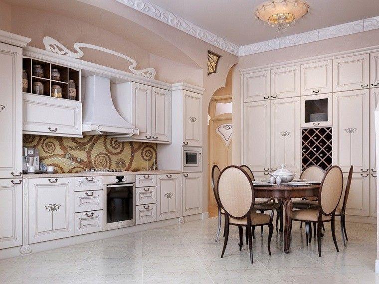 cocina bonita blanca beige clasica
